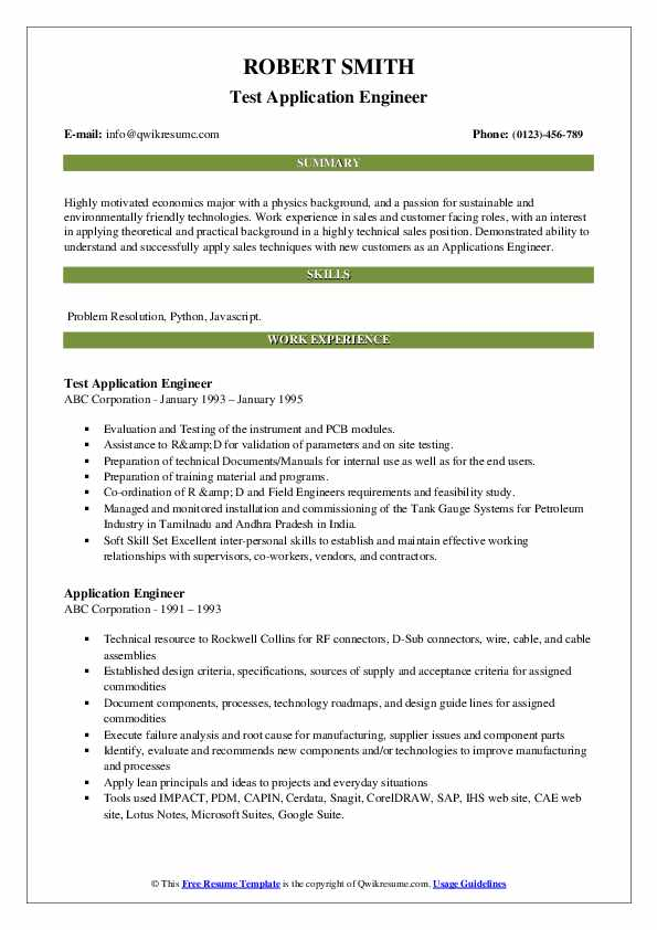 Test Application Engineer Resume Model