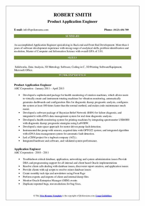 Product Application Engineer Resume Sample