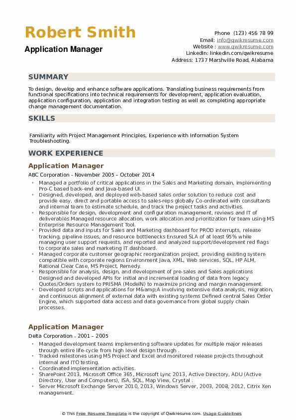 Application Manager Resume example