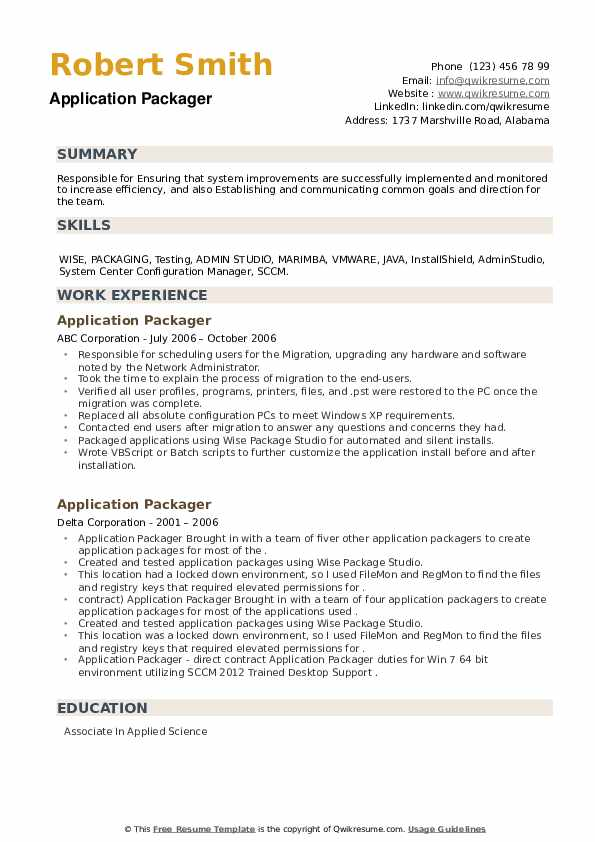 Application Packager Resume example