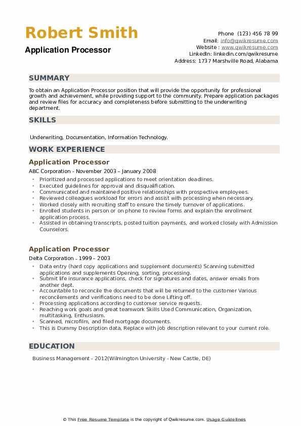 Application Processor Resume example