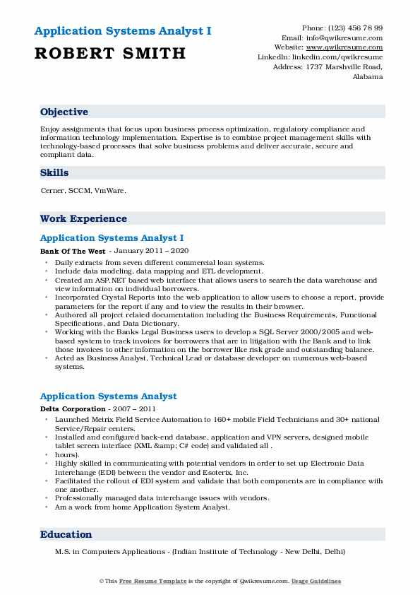 Application Systems Analyst Resume Samples Qwikresume