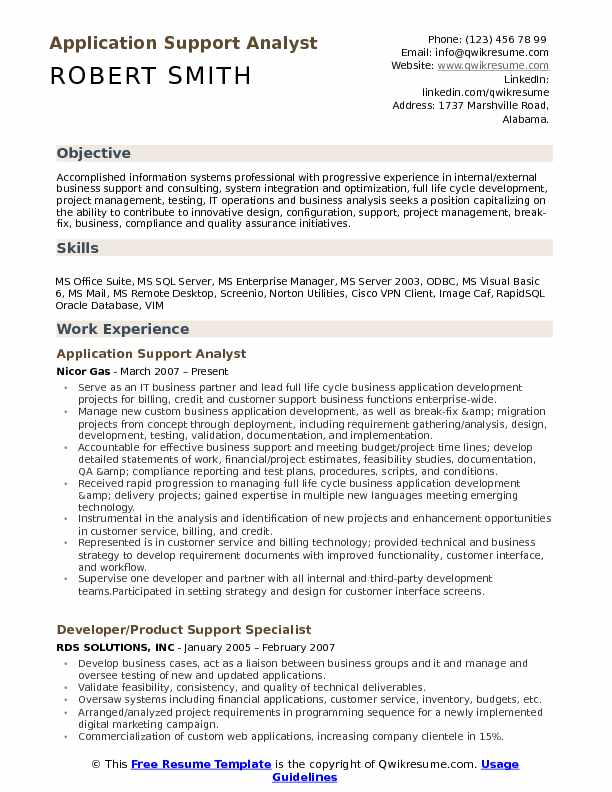 application support analyst resume samples