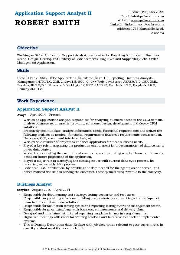 Application Support Analyst Resume Samples | QwikResume