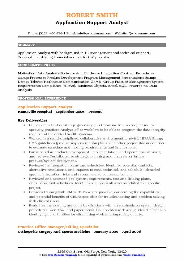 Application Support Analyst Resume Samples Qwikresume