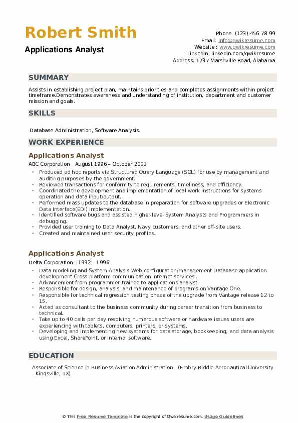 Applications Analyst Resume example