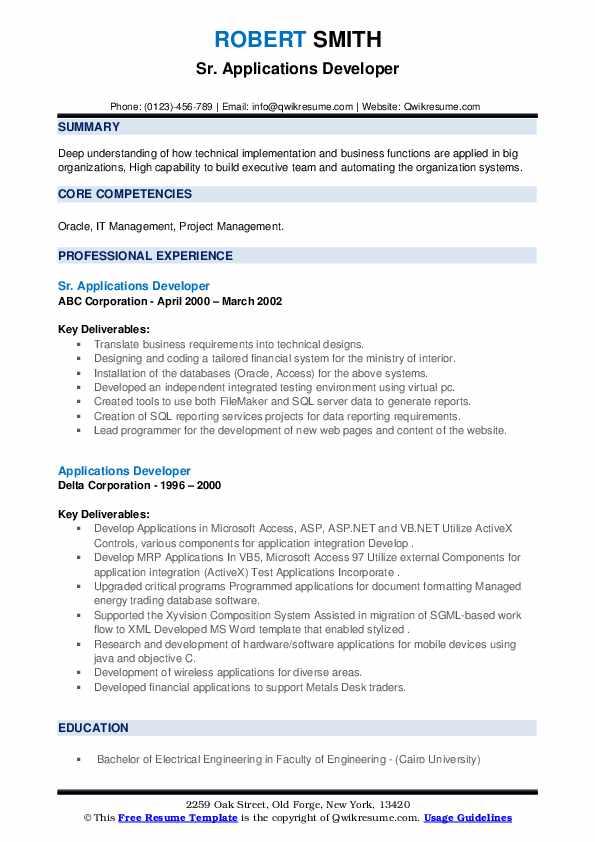 applications developer resume samples  qwikresume