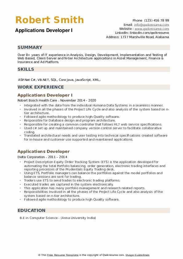 Applications Developer Resume example