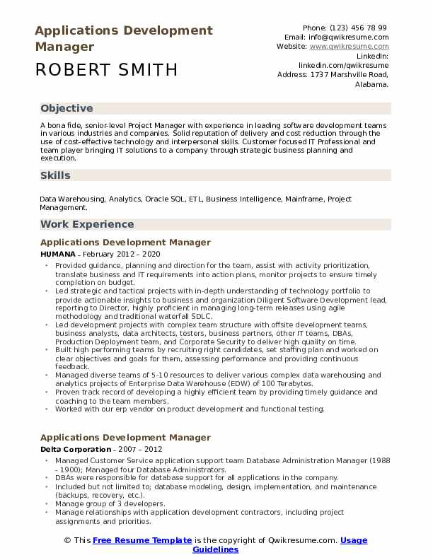 Applications Development Manager Resume example