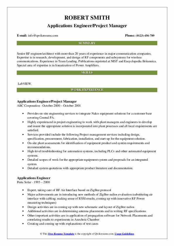 Applications Engineer/Project Manager Resume Example