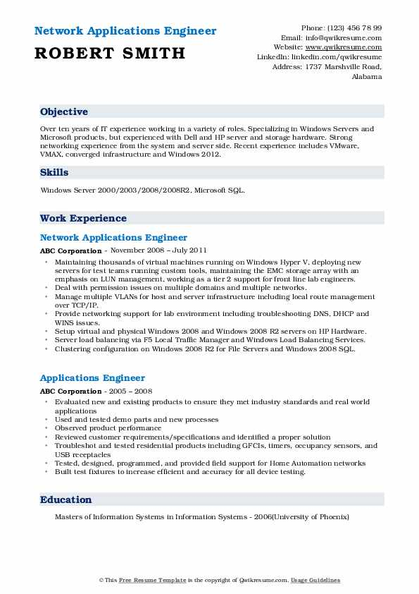 Network Applications Engineer Resume Format