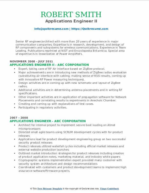 Applications Engineer II Resume Model
