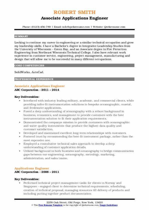 Associate Applications Engineer Resume Sample