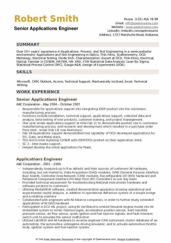 Senior Applications Engineer Resume Example