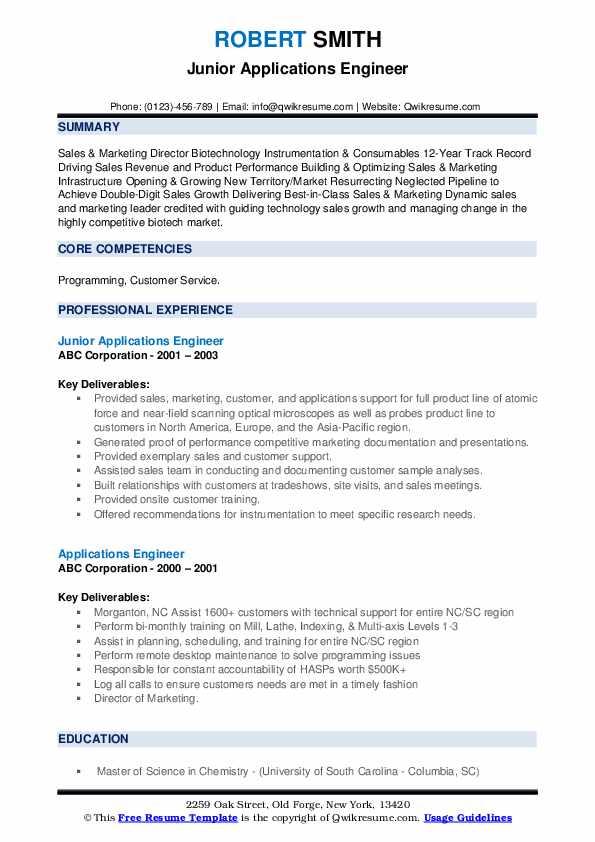 Junior Applications Engineer Resume Model