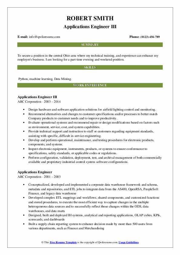 Applications Engineer III Resume Template