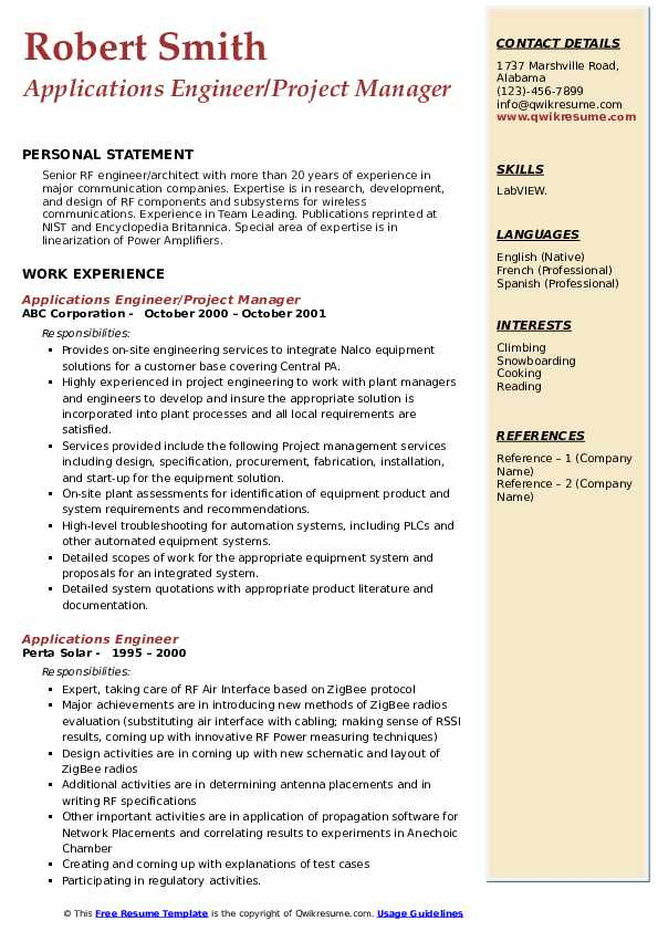 Sr. Plant Technician Resume Template