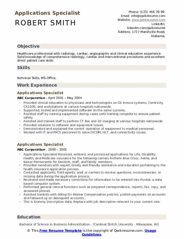 Applications Specialist Resume example