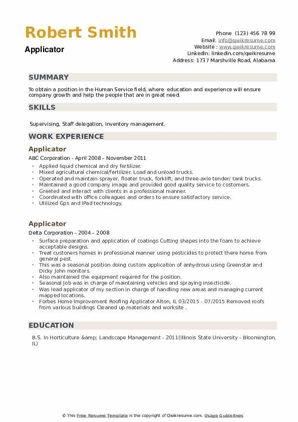 Applicator Resume example