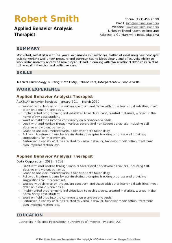 Applied Behavior Analysis Therapist Resume example