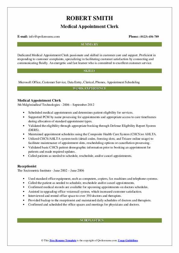 Appointment Clerk Resume Samples | QwikResume