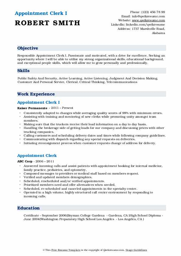 Appointment Clerk I Resume Example