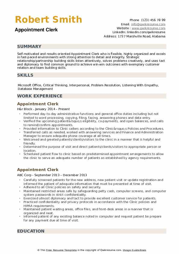 Appointment Clerk Resume Samples Qwikresume