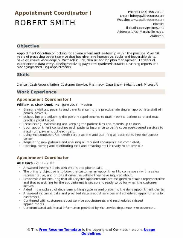 Appointment Coordinator I Resume Example