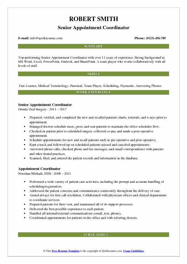 Senior Appointment Coordinator Resume Example