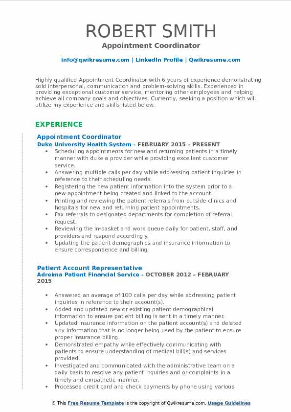 appointment coordinator resume samples