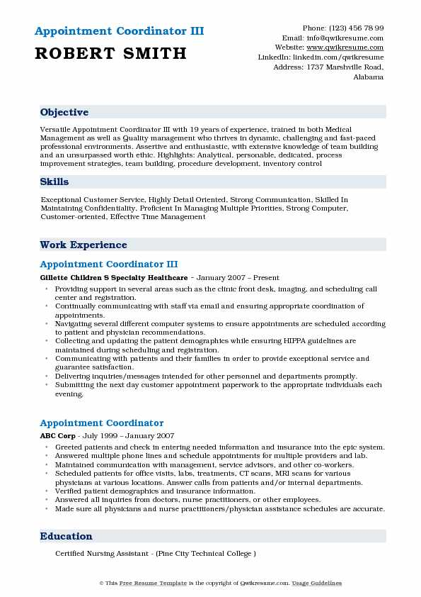 Appointment Coordinator III Resume Model
