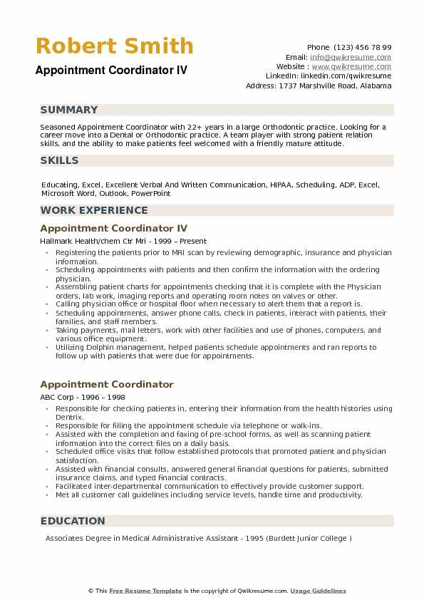 Appointment Coordinator Resume Samples Qwikresume