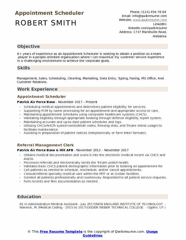Appointment Scheduler Resume Format