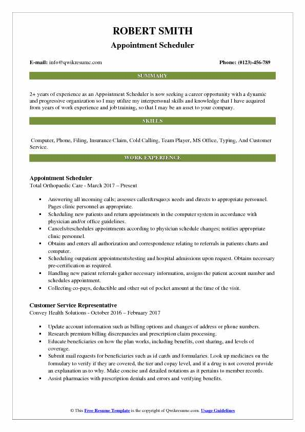 Appointment Scheduler Resume Template