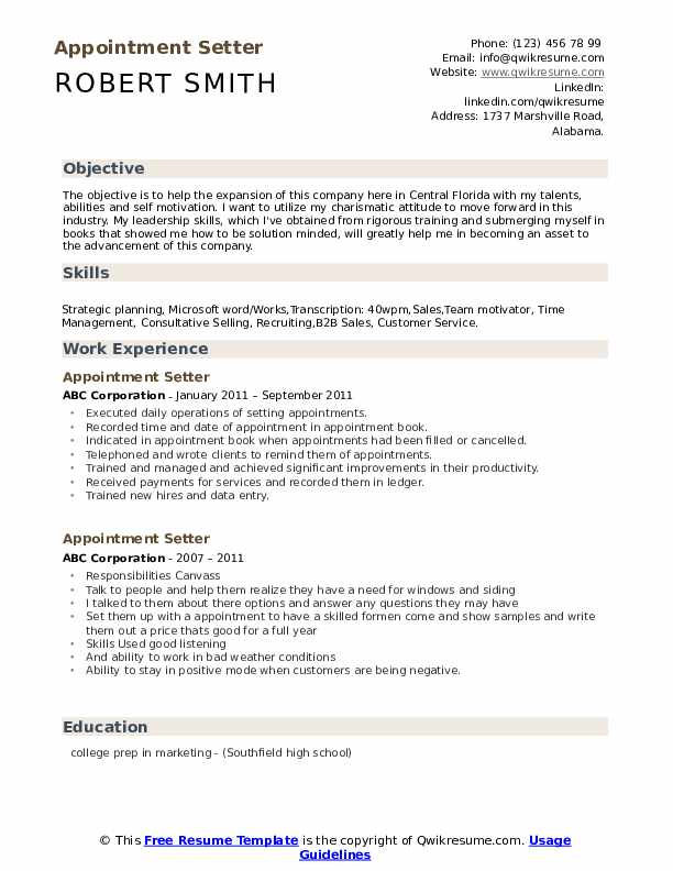 Appointment Setter Resume Samples Qwikresume