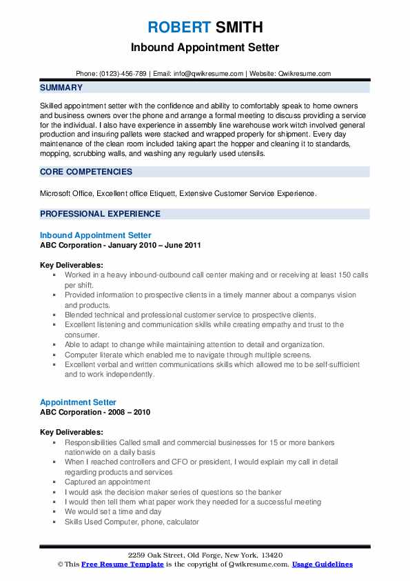 Inbound Appointment Setter Resume Sample