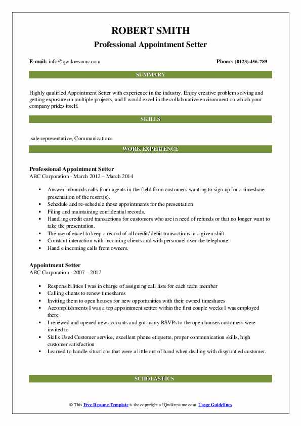 appointment setter resume samples