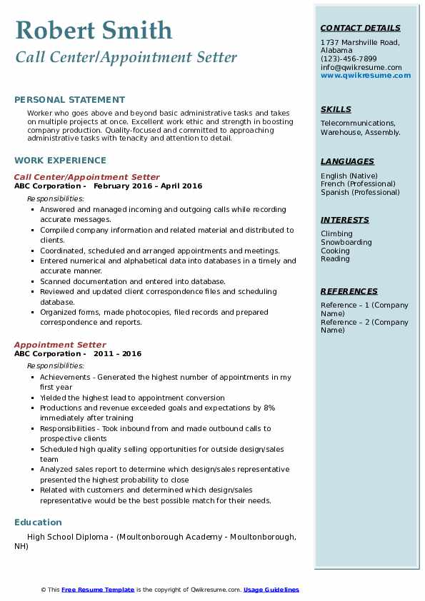 Call Center/Appointment Setter Resume Sample
