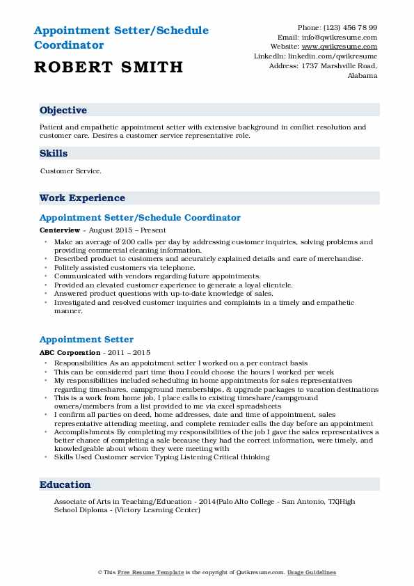 Appointment Setter/Schedule Coordinator Resume Format