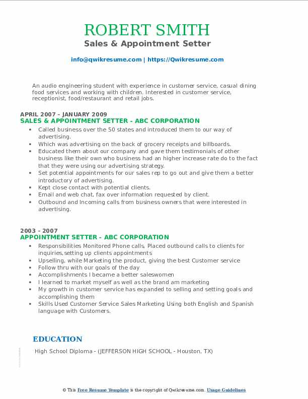 Sales & Appointment Setter Resume Example