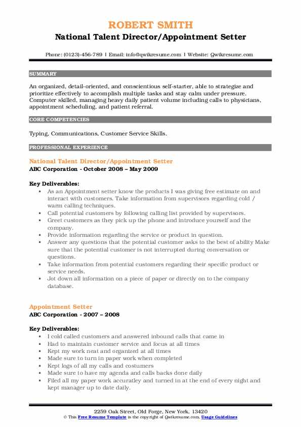 National Talent Director/Appointment Setter Resume Model