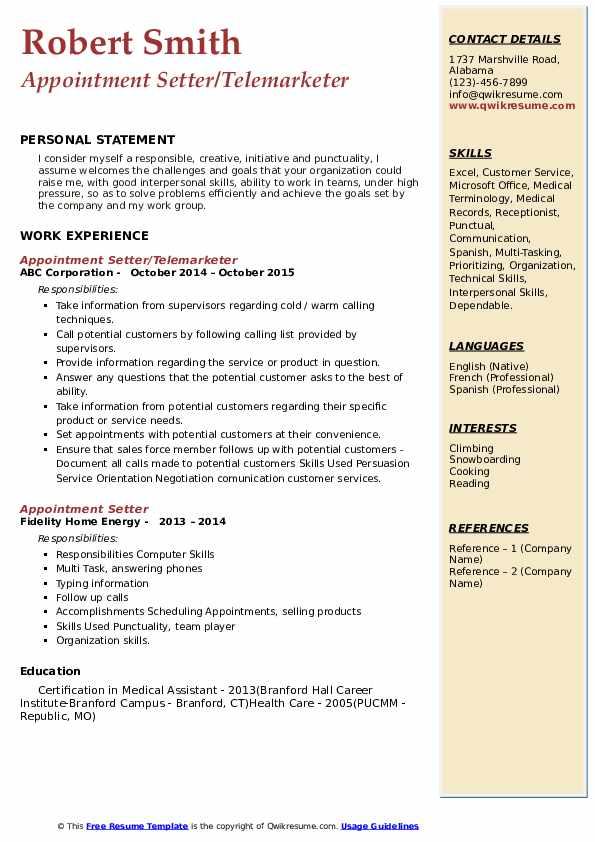 Appointment Setter/Telemarketer Resume Sample