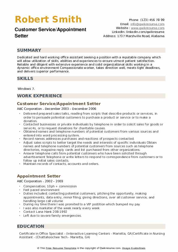 Customer Service/Appointment Setter Resume Format