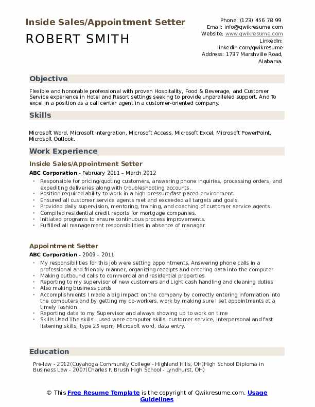 Inside Sales/Appointment Setter Resume Template