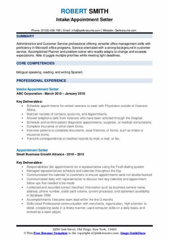 Intake/Appointment Setter Resume Format