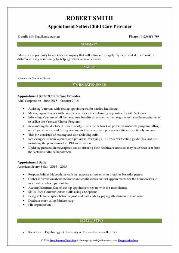 Appointment Setter/Child Care Provider Resume Sample
