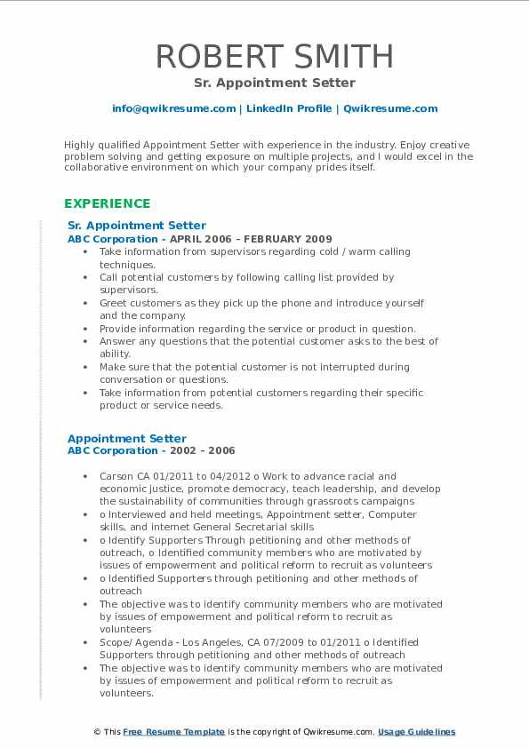 Sr. Appointment Setter Resume Template