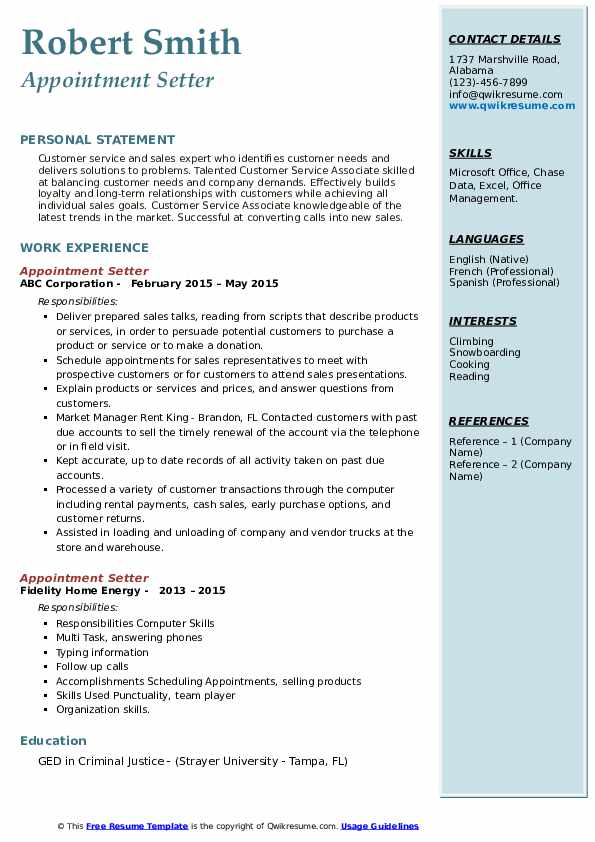 Appointment Setter Resume example
