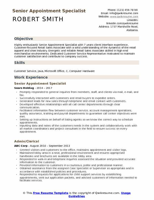Senior Appointment Specialist Resume Sample