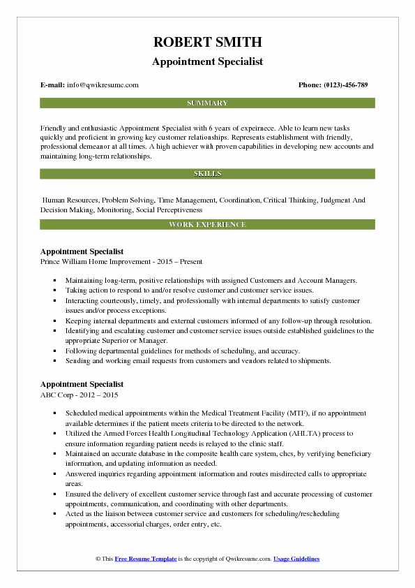 Appointment Specialist Resume Template